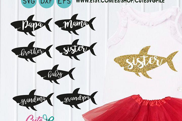 Shark silhouette svg, Fish svg, Shark Birthday, Mommy shark svg, Daddy shark, Baby shark, sister shark, brother shark, Family shark svg