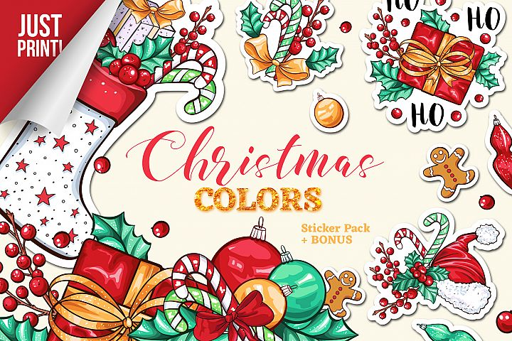 Christmas Colors. Vector Sticker Pack
