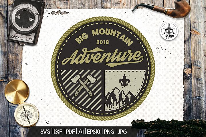 Mountain Camp Logo, Vintage Adventure Badge Patch SVG File