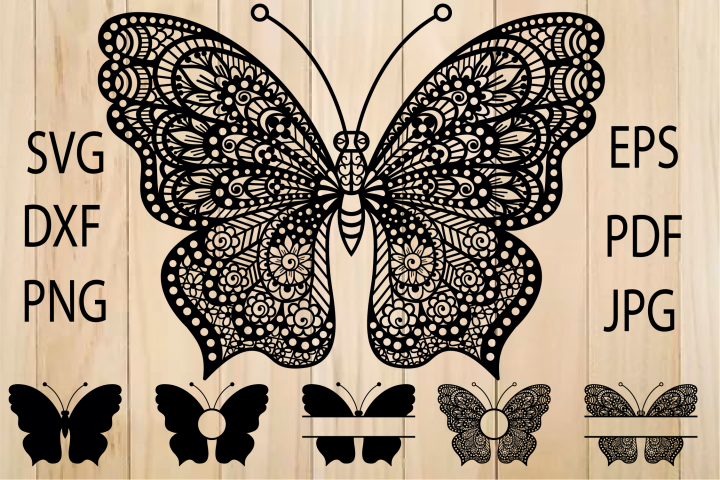 Butterfly SVG, Butterfly Monogram Frame, Zentangle SVG
