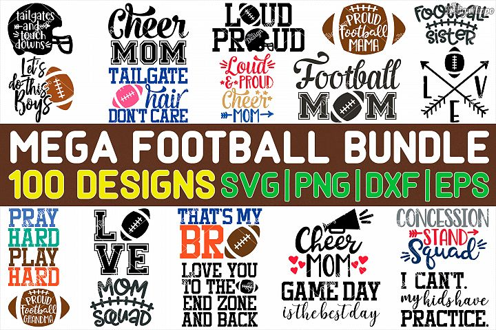 Mega Football Bundle of 100 Designs SVG PNG DXF Cut Files