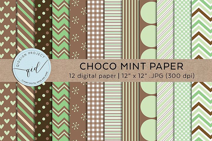 Choco Mint 12 Digital Paper JPG