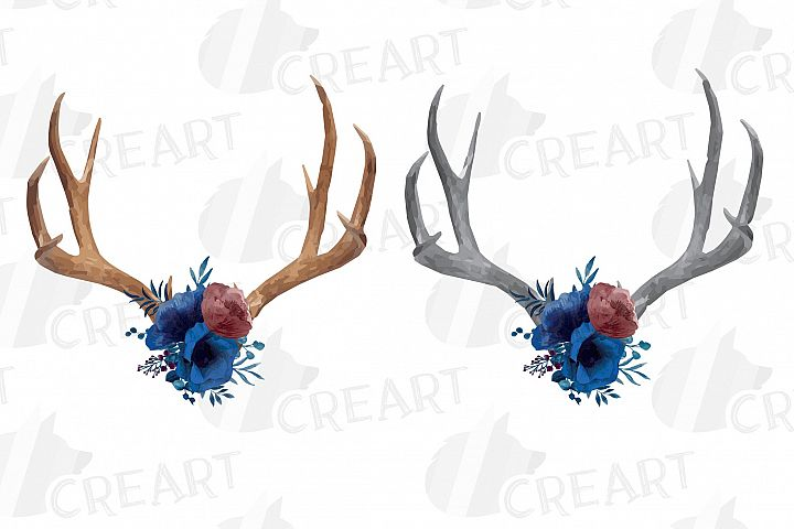 Watercolor navy blue floral deer horn decor clip art, India