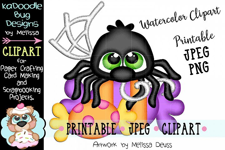 Halloween Candy Spider Watercolor Clipart - JPEG PNG File