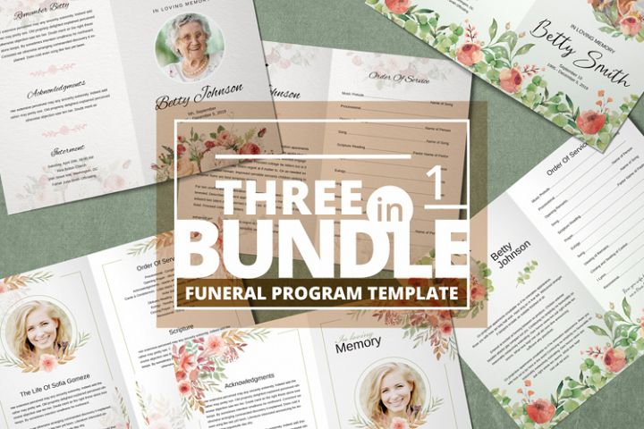 Funeral Program Template 3in1 Bundle