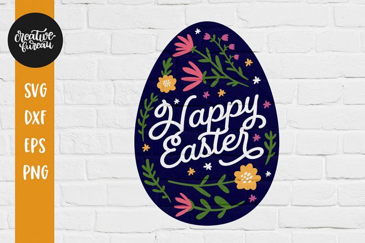 Happy Easter SVG DXF Cut File, Easter Egg SVG