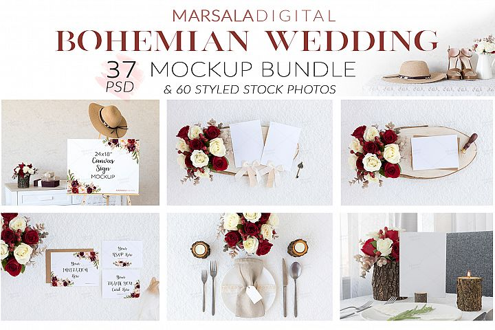 Bohemian Wedding Mockup Bundle