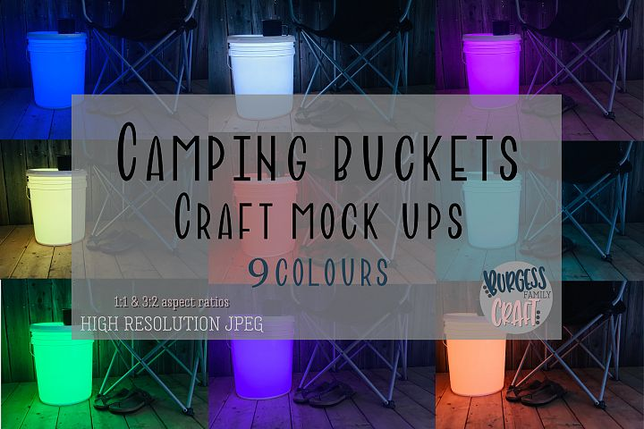 Bundle of Camping bucket mock ups |High Resolution JPEG