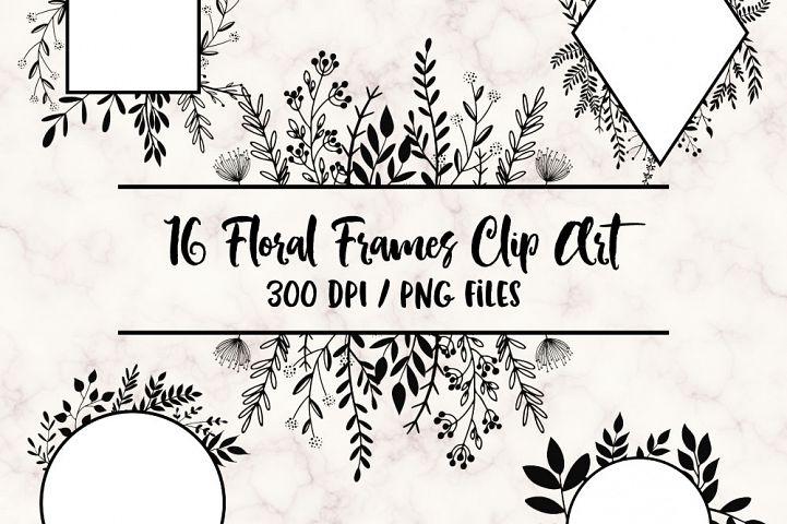 Hand Drawn Floral Frames Clip Art
