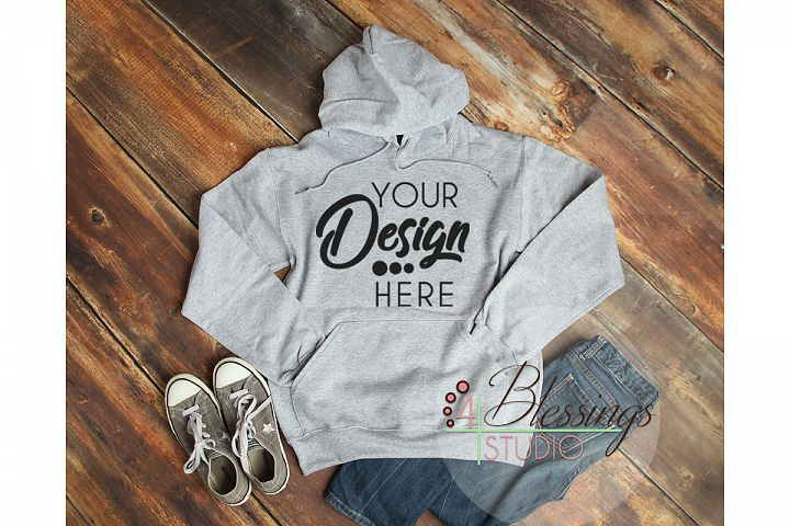 Heather Gray Hoodie Sweatshirt Mockup Unisex Hooded Sweat