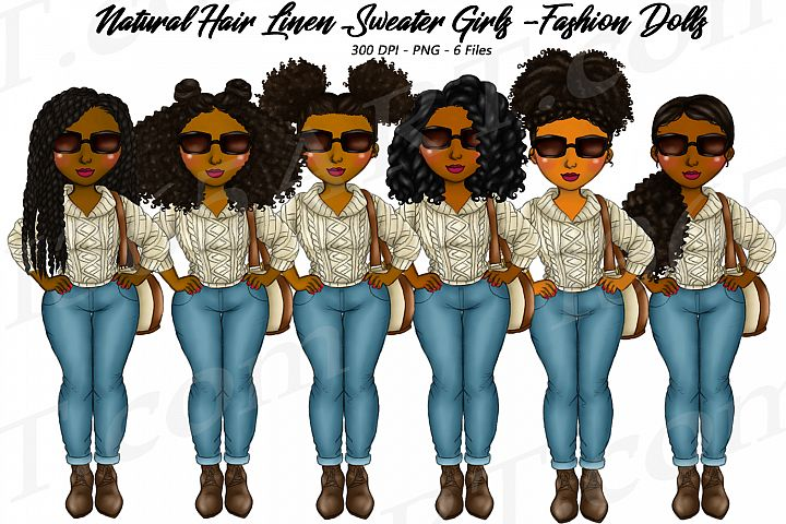 Winter Linen Sweater Black Girl Natural Hair Fashion Clipart