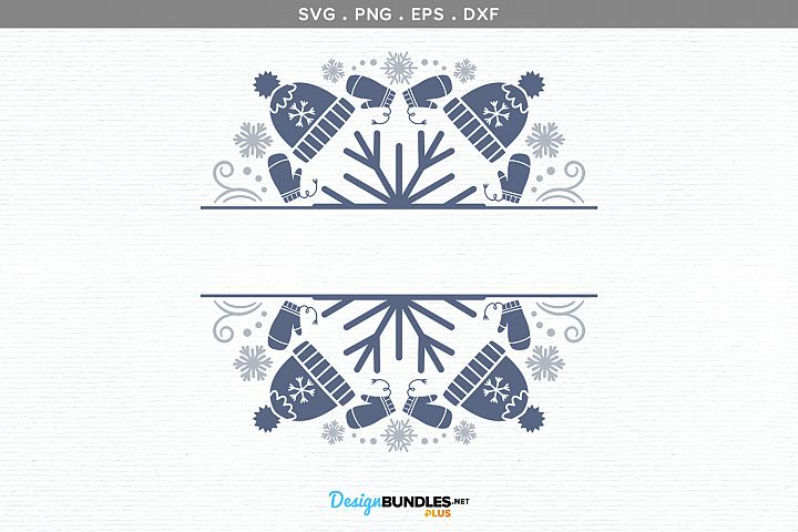 Winter Split Monogram - svg, printable example image 2