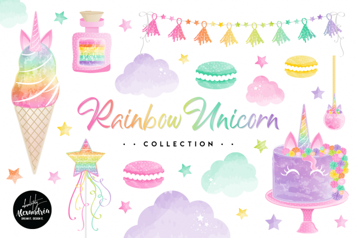 Rainbow Unicorn Clipart Graphics & Digital Paper Patterns Bundle