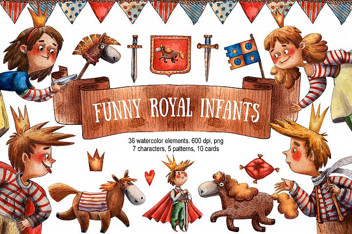 Funny Royal Infants - Watercolor Clip Art Set