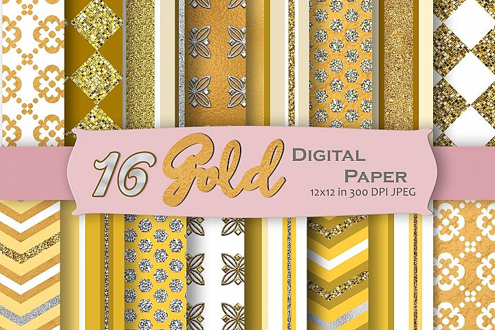 Gold Digital Paper Pack
