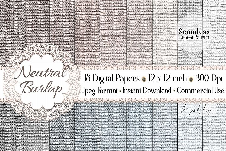 18 Seamless Realistic Neural Linen Burlap Digital Papers
