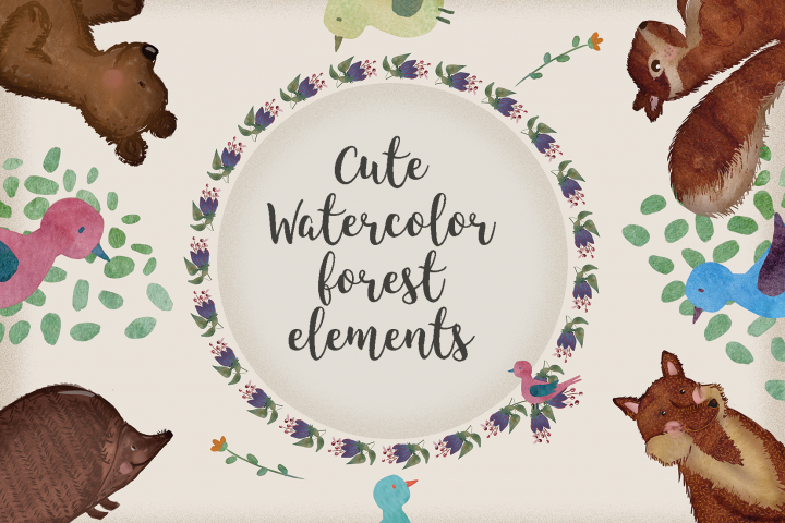 Cute Watercolor Forest Elements
