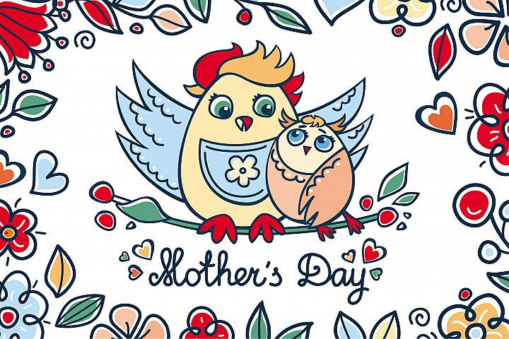 Mothers Day. Patterns. Postcards. Elements. Vector