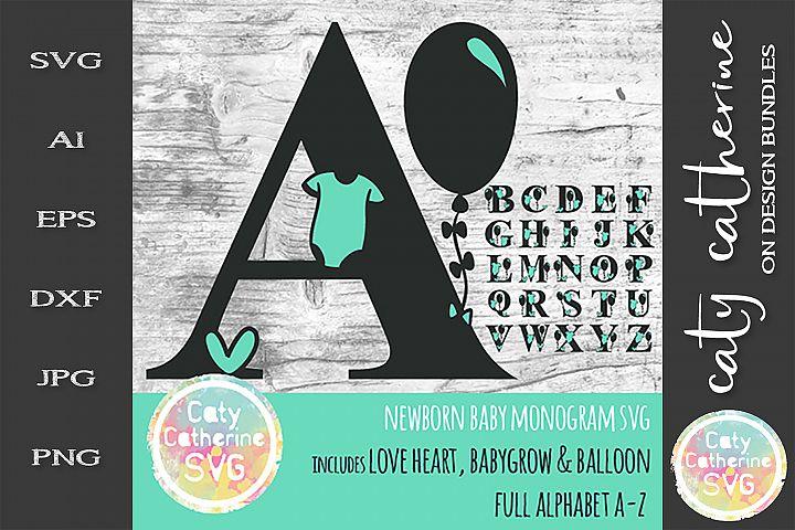 Full Alphabet A-Z Newborn Baby Monogram SVG Cut file