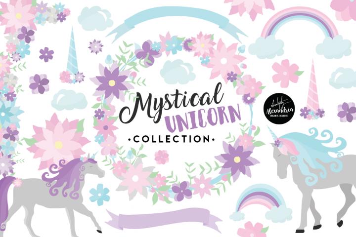 Mystical Unicorn Clipart Graphics & Digital Paper Patterns Bundle