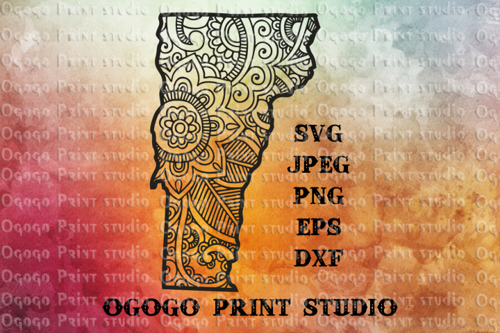 Vermont SVG, Zentangle SVG, Travel svg, Doodle Art, Mandala