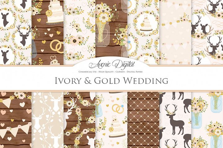Ivory and Gold Wedding Digital Paper - Ivory Rustic Wedding Deer Seamless Patterns