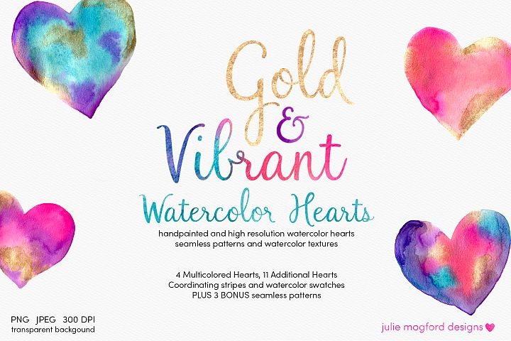 Gold & Vibrant Watercolor Hearts