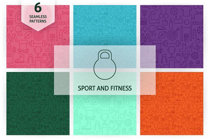Sport Fitness Line Seamless Patterns