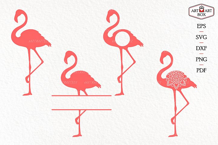 Set of four pink flamingos.