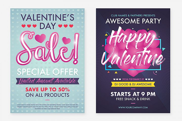2 Valentines Day Flyer Design Layout Template With Cute Pink Baloon Color