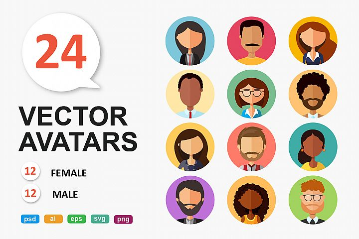 avatars cartoon people flat modern style