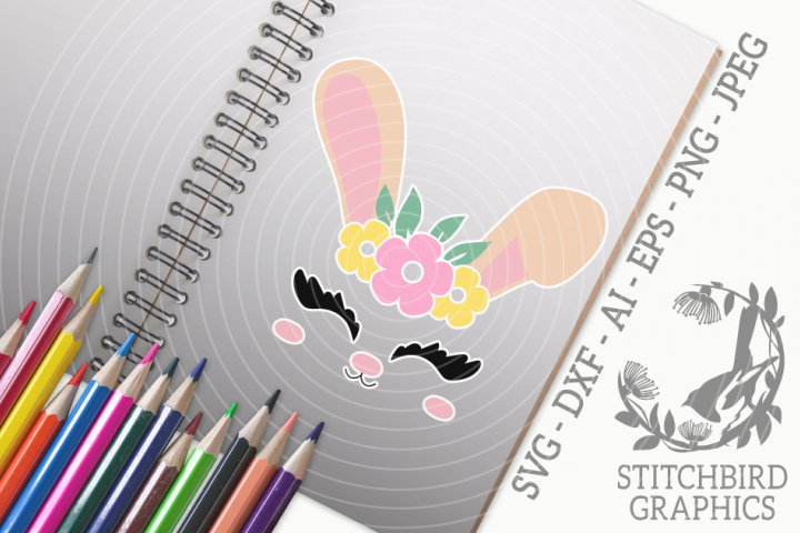 Bunny Rabbit Head 2 SVG, Silhouette Studio, Cricut, Eps, Dxf