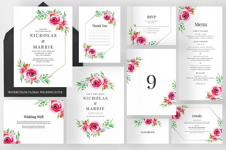 Watercolor Floral Wedding Suite