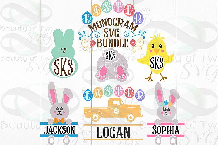 Easter Monogram svg cut files Bundle, 6 Easter svg Monograms