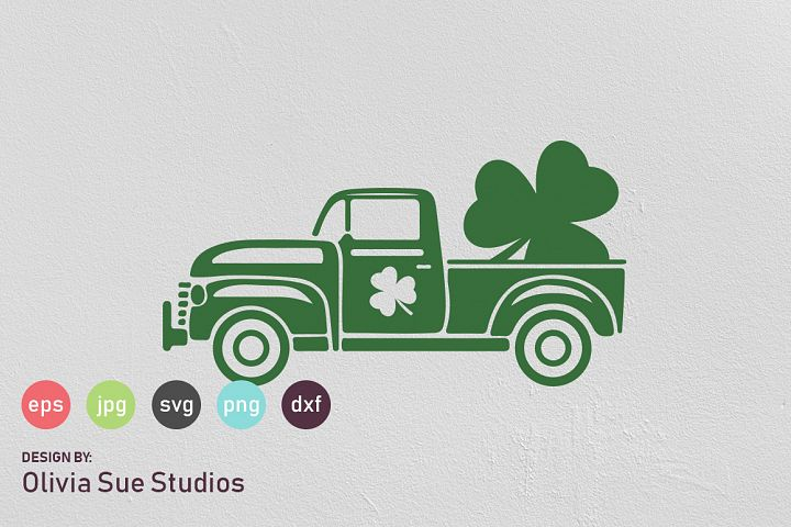 St Patricks Day Vintage Old Truck Shamrock SVG Cut File