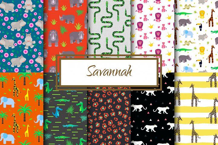 Savannah Animals Seamless Patterns