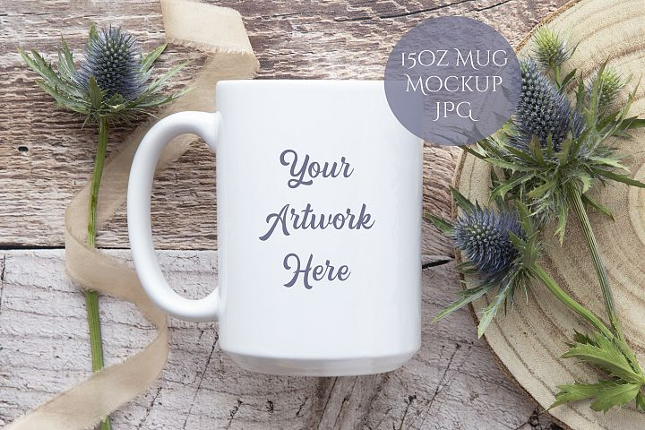 15oz Mug Mockup- rustic wood