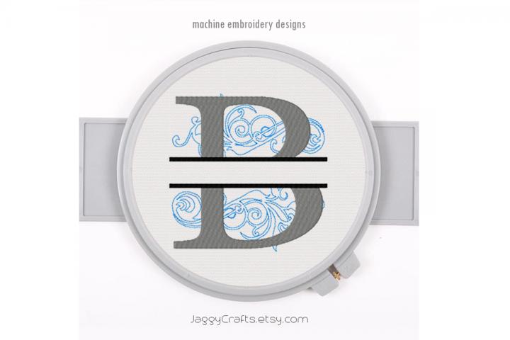 Embroidery Fonts Split Monogram B, Monogram Fonts Design