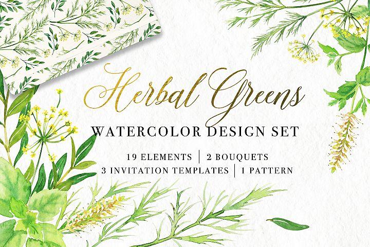 Herbal Greens Watercolor Set