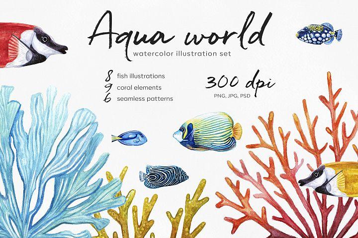 Watercolor fish illustrations. Fish & Coral. Aqua world.