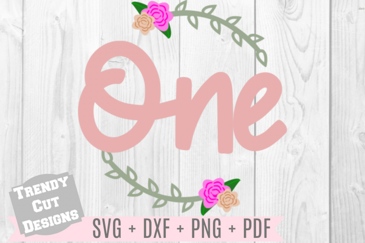 One Flower Wreath Birthday SVG
