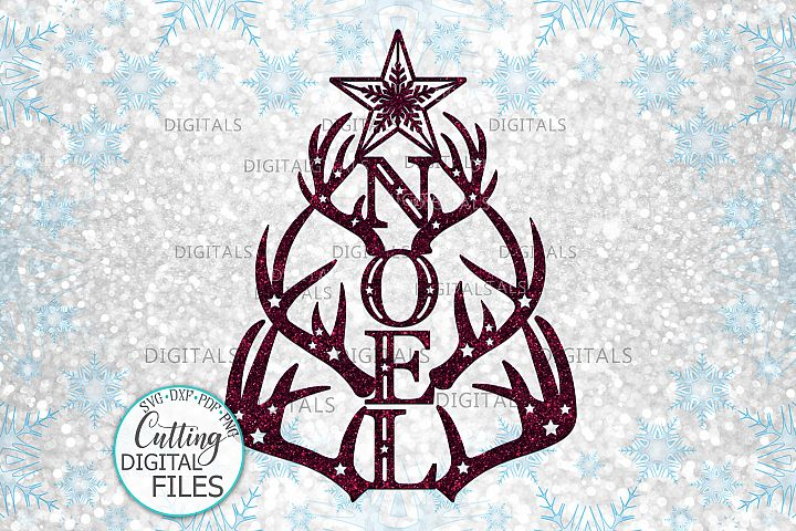 Christmas Tree Noel with deer antlers laser cut out svg png
