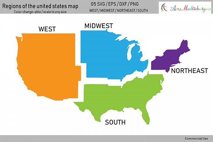 Regions of the united states map vector / united states map