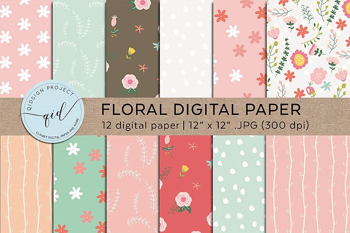 Floral Digital Paper with handrawn flower in pastel colors