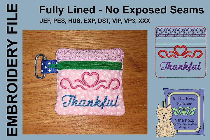 Thankful Mini Zipper Bag / Fully Lined, 4X4 HOOP