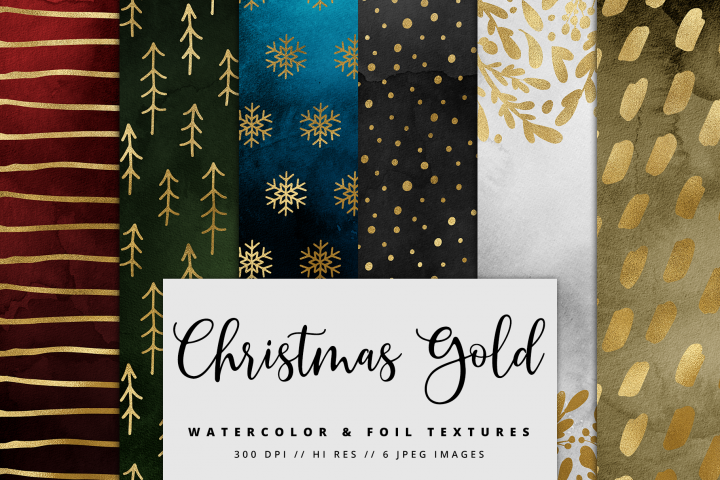 Christmas Gold Watercolor Foil Textures | 6 Pack