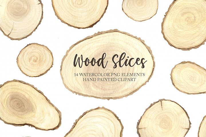 Watercolor Wooden Slices Set