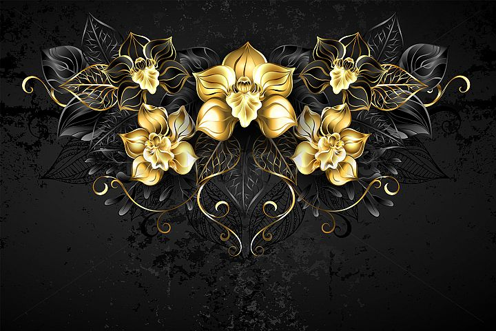 Symmetrical Pattern with Black Orchids