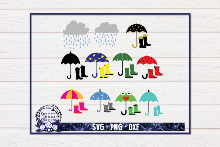 Rain Boots And Umbrellas Bundle SVG