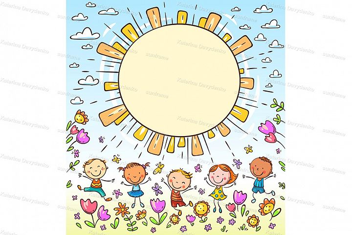 Sun frame with happy doodle kids and a round copy space